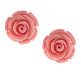 Sculpted Pink Rose Stud Earrings 14K Gold —