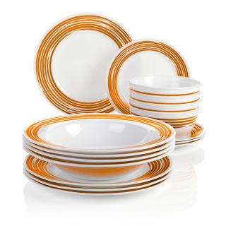 Orange Corelle Joy Mangano Strokes of Color 16 Piece Premier