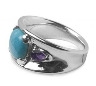 Sterling Sleeping Beauty Turquoise & Amethyst Band Ring —