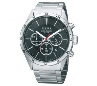 Pulsar Mens Silvertone Chronograph Watch withBlack Dial —