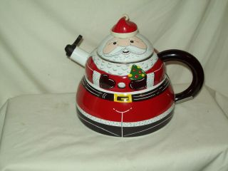 Vintage Whistling Tea Kettle Enamel Santa Claus Christmas 3 Qt quality
