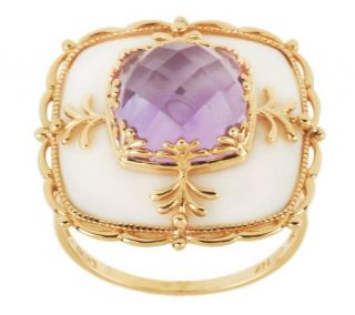 White Agate and 5.00 ct Gemstone Cushion Cut Ring, 14K Gold —