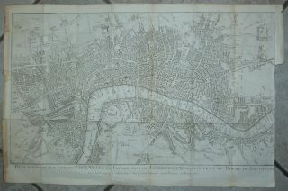 United Kingdom 1745 Le Rouge Antique Copper Engraved City Map