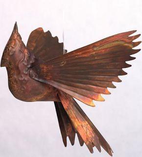 Copper Flamed Hanging Cardinal   Garden Yard Decor Art Deck Patio