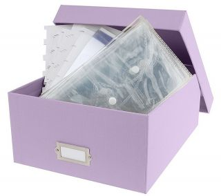 Fabric Covered Storage Box w/Clear Plastic Organizers —