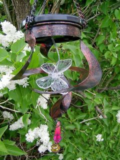 Butterfly Copper Finish Metal Windspinner Garden Accent Decor 14739