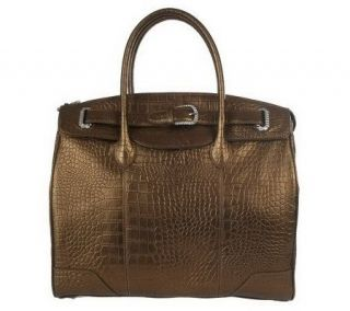 Judith Ripka Manhattan Croco Embossed Leather Tote w/ Buckle Detail