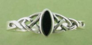 New Sterling Silver Black Onyx Celtic Ring Sizes 5 9