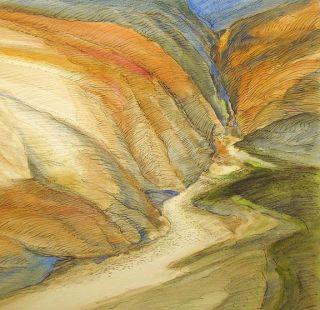 James Conaway North Canyon Signed Original Mixed Media Drawing Art