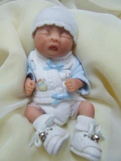 Sculpted Asian Baby Boy Polymer Clay Art Doll Collectible Miniature