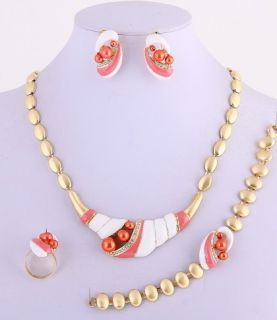 Gold Plated Necklace Bracelet Earring Ring Set Rhinestone Pearl Coral
