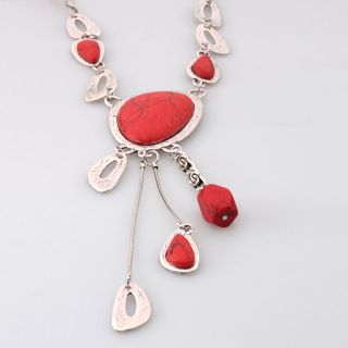 New Elegant Lady Red Coral Pendant Necklace Chain 25 2