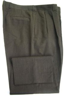 Corbin  Mens Brown Pleated Wool Dress Pants Slacks 40x30