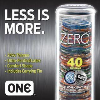 One Condoms Zero Ultra Thin Purified Latex Condoms 40ct
