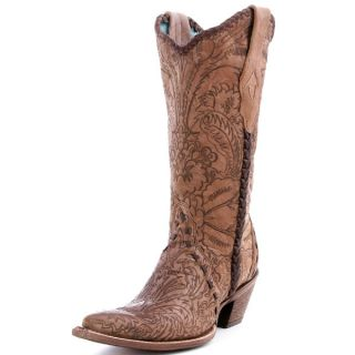Corral Ladies Tan Engraved Lace Tube Cowgirl Boots C1049