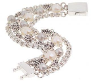 Michael Dawkins Sterling Rondel 7 Cultured Freshwater Pearl Bracelet