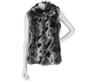 Luxe Rachel Zoe Faux Fur Vest with Hook & Eye Closure   A93632