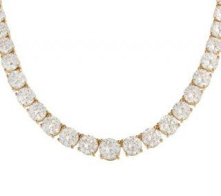 Diamonique 29.40 ct tw 16 Graduated Tennis Necklace 14K Gold