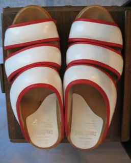 Vintage Retro Red White Wooden Clogs 37 Sandgrens Sweden Amazing Pair