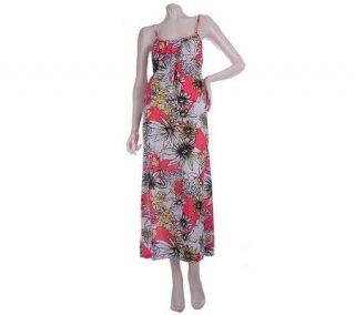 Stan Herman Floral Fiji Printed Jersey Maxi Dress —