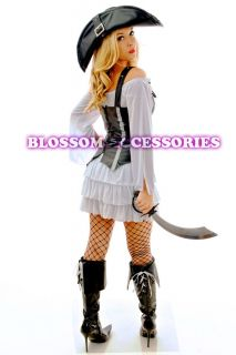 Pirate Wench Fancy Halloween Costume Outfit Vest Hat