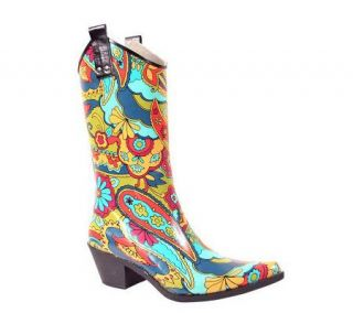 Nomad Yippy Western Style Green Flower Power Rain Boots —