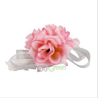 New Elegant Tea Rose Wedding Wrist Corsage Silk Flower Pink