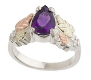 Black Hills Pear Shaped Amethyst Ring Sterling/12K —