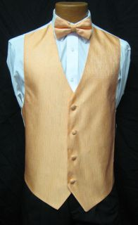 Bali Peach Onyx Fullback Vest Bow Tie Tuxedo Wedding Prom