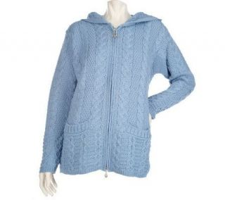 Aran Craft Merino Wool Hooded Zip Front Cardigan —