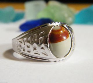 DECO Mens Clark Coombs RING Sterling Silver Agate signed vintage