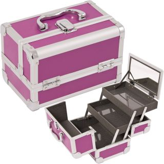 Makeup Train Case Cosmetic Organizer w Mirror 3 Trays M101 Pink