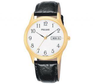 Mens Pulsar Black Leather Strap Watch —