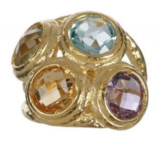 Veronese 18K Clad 6.50 ct tw Multi gemstone Hammered Ring —