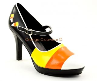 PLEASER Candy Corn Mary Jane Halloween Costume Shoes