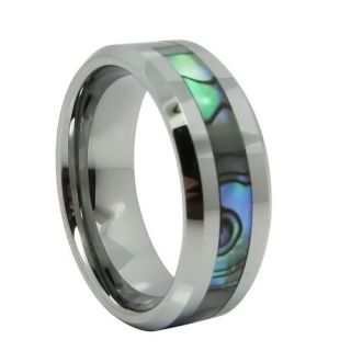 8mm Comfort Fit Tungsten Carbide Ring Mens Wedding Band with Abalone