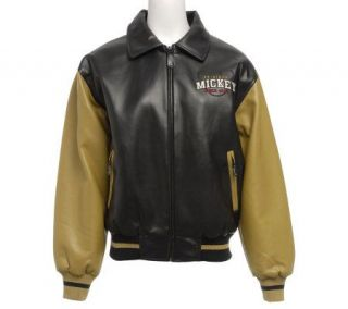 Excelled Womens Mickey Mouse Faux Leather Varsity Jacket —