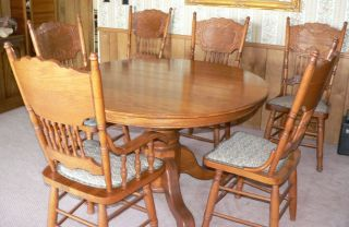 antique oak country style 5 piece dinette set