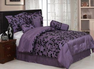 Purple Velvet Floral Comforter Bed in Bag Set Cal King