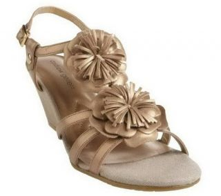 As Is Andrew Geller Wedge Sandals with Flower Detail   A230353