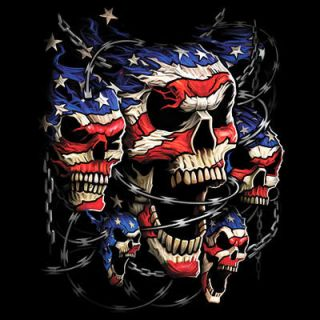 Cool Tshirt Patriotic Skulls Barb Wire Breakthrough American Flag USA