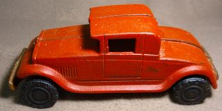 Orange Coupe Cast Iron Toy Car Arcade Vintage Retro Antique Hot Rod