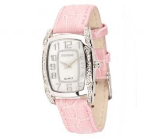 Gossip Mother of Pearl Pink Leather Croco Strap Watch —