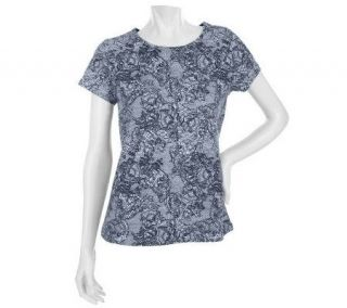 Motto Short Sleeve Open Crew Neck Lace Print T Shirt —