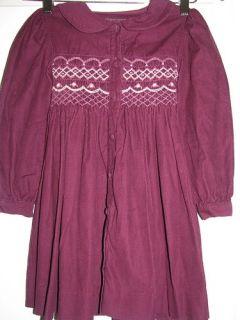 Copper Key Girls Smocked Dress Size 5 100 Cotton Plum Wine Burgundy