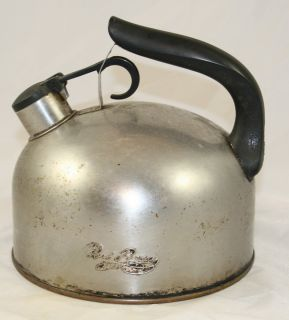 Revere Ware Stainless Steel Copper Bottom Whistling Tea Kettle 93 C