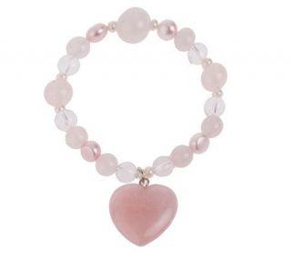 Lee Sands Rose Quartz Gemstone Heart Stretch Bracelet —