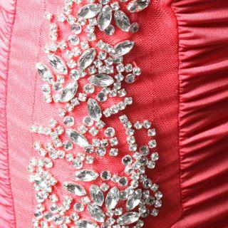 Coral Pink Sleeveless Cowl Neck Plunge Rhinestone Embellish Club Dress