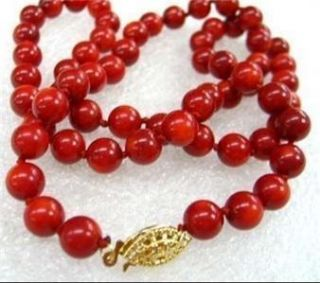 Natural 8mm Red Sea Coral Beads Necklace 18