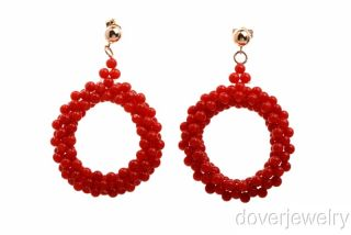 vendio gallery now free fine red coral 14k gold hoop stud earrings nr